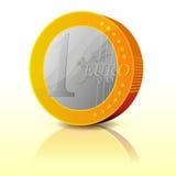 Moneda euro simple de la historieta ilustración del vector