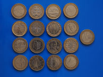 1 moneda euro, unión europea Imágenes de archivo libres de regalías