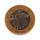 1 moneda euro, unión europea, Estonia aisló sobre blanco Fotografía de archivo libre de regalías