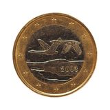 1 moneda euro, unión europea, Finlandia aisló sobre blanco Foto de archivo