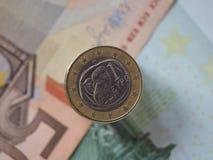 1 moneda euro, unión europea, Grecia Fotografía de archivo libre de regalías