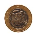 1 moneda euro, unión europea, Grecia aisló sobre blanco Imágenes de archivo libres de regalías