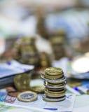 Moneda europea (billetes de banco y monedas) Imagenes de archivo