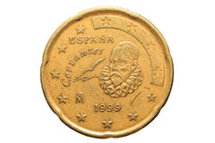 Moneda europea con un valor nominal de veinte centavos euro aislados en el fondo blanco Imagen macra de monedas europeas Fotos de archivo