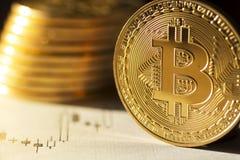 Moneda futura Bitcoin de Digitaces del dinero del ` s Fotos de archivo