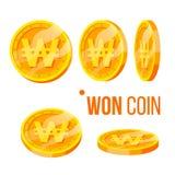 Moneda ganada que juega vector de oro del sistema de la moneda del dinero libre illustration