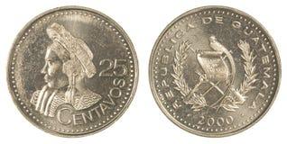 moneda guatemalteca de 25 centavos Imágenes de archivo libres de regalías