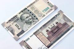 Moneda india de las notas de 500 rupias Foto de archivo libre de regalías