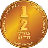 Moneda israelí del mitad-shekel del dinero del oro del vector stock de ilustración