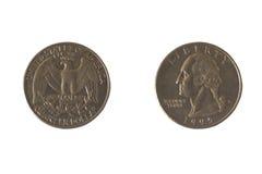 Moneda los E.E.U.U. 25 centavos Foto de archivo libre de regalías