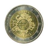 moneda Malta del euro 2 aislada en el fondo blanco imágenes de archivo libres de regalías