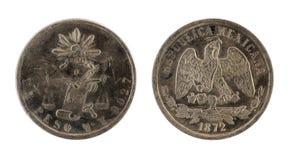 Moneda mexicana vieja. (1872 años) Imagen de archivo