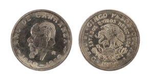 Moneda mexicana vieja (año 1859-1959) Imagen de archivo libre de regalías