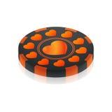 Moneda negra anaranjada del casino del aniversario Imágenes de archivo libres de regalías