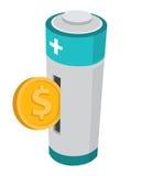 Moneda o dinero que entra en poder de batería Imágenes de archivo libres de regalías