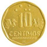 Moneda peruana de 10 del nuevo centimos del solenoide Imagen de archivo libre de regalías