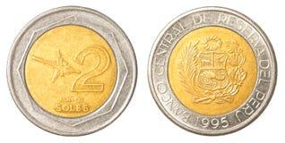 Moneda peruana de 2 solenoides del nuevo Fotos de archivo