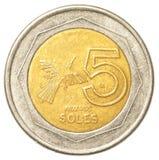 Moneda peruana de 5 solenoides del nuevo Imagenes de archivo
