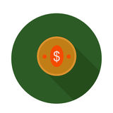 Moneda plana del icono Fotos de archivo libres de regalías