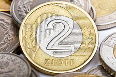 Moneda polaca del zloty dos Fotografía de archivo