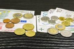 Moneda polaca y la zona euro Imagen de archivo libre de regalías
