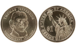 Moneda presidencial del dólar de Jefferson Fotos de archivo libres de regalías