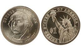 Moneda presidencial del dólar de Washington Imágenes de archivo libres de regalías