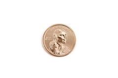 Moneda principal india del dólar del oro Imagen de archivo