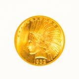 Moneda principal india del oro aislada Fotografía de archivo