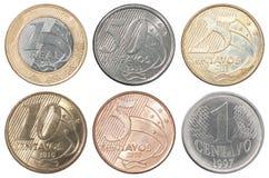 Moneda real brasileña Imágenes de archivo libres de regalías