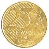 Moneda real brasileña de 25 centavos Imagen de archivo libre de regalías