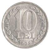 Moneda rumana de 10 leus Fotos de archivo libres de regalías