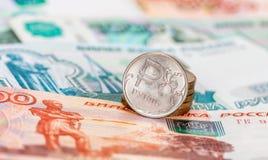 Moneda rusa, rublo: billetes de banco y monedas Foto de archivo libre de regalías