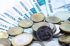 Moneda rusa una rublo Fotos de archivo