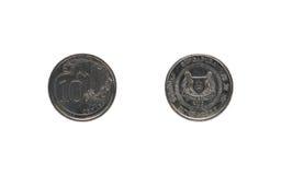 Moneda singapurense de diez centavos foto de archivo
