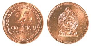 Moneda srilanquesa de 25 centavos de la rupia Foto de archivo libre de regalías
