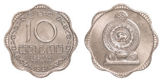 Moneda srilanquesa de 10 centavos de la rupia Imágenes de archivo libres de regalías