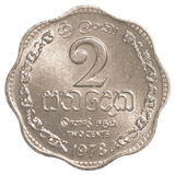 Moneda srilanquesa de 2 centavos de la rupia Foto de archivo libre de regalías