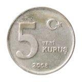 Moneda turca del kurus Imagenes de archivo