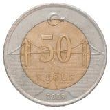 Moneda turca del kurus Imagen de archivo libre de regalías