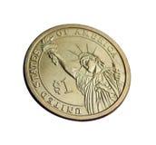 Moneda un dólar de EE. UU. la estatua de la libertad Fotos de archivo libres de regalías
