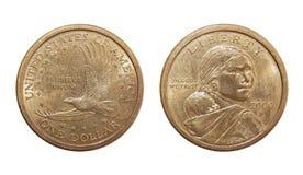 Moneda un dólar de Sacagawea del dólar de EE. UU. Imagen de archivo