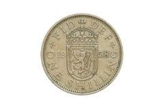 Moneda vieja 1958 un chelín imagenes de archivo