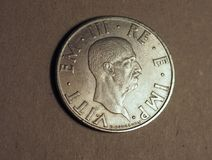 Moneda vieja de la lira italiana con el rey de Vittorio Emanuele III Fotos de archivo