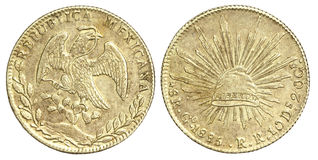 Moneda vieja del mexicano 8 Reales 1885 Imagen de archivo libre de regalías