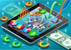 Moneda virtual isométrica Infographic en la tableta libre illustration