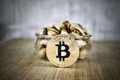 Moneda y nueces del bitcoin del oro Fotos de archivo libres de regalías