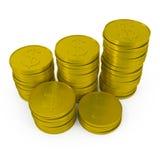 Monedas aisladas en blanco Imagen de archivo libre de regalías