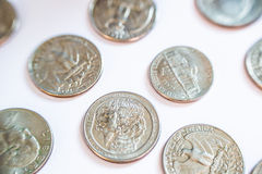 Monedas americanas Algunos son viejos histórico Foto de archivo