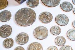 Monedas americanas Algunos son viejos histórico Fotos de archivo libres de regalías